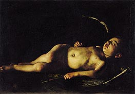 Sleeping Cupid, 1608 by Caravaggio | Painting Reproduction