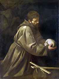 Saint Francis in Meditation, c.1605 by Caravaggio | Painting Reproduction