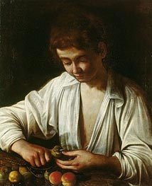 A Boy Peeling Fruit, c.1592/93 by Caravaggio | Painting Reproduction