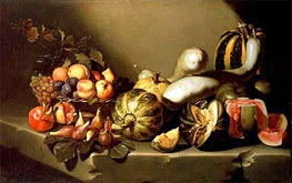 Still Life with Fruit on a Stone Ledge, c.1603 by Caravaggio | Painting Reproduction
