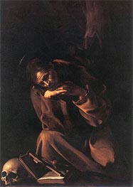 Saint Francis in Prayer, c.1608 by Caravaggio | Painting Reproduction