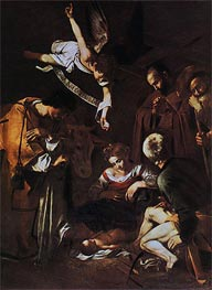 Nativity with Saints Lawrence and Francis, 1609 by Caravaggio | Painting Reproduction