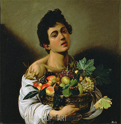 Boy with a Basket of Fruit, c.1593/94 | Caravaggio| Painting Reproduction