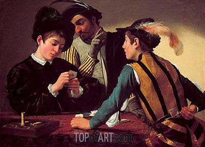 The Cardsharps (I Bari), c.1595/96 | Caravaggio| Painting Reproduction