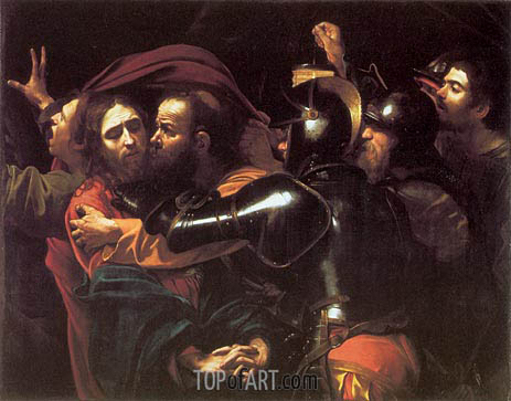 The Betrayal of Christ (Taking of Christ), 1602 | Caravaggio| Painting Reproduction