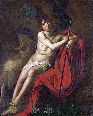 St. John the Baptist in the Wilderness, c.1610 | Caravaggio| Painting Reproduction