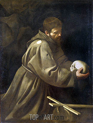 Saint Francis in Meditation, c.1605 | Caravaggio | Painting Reproduction