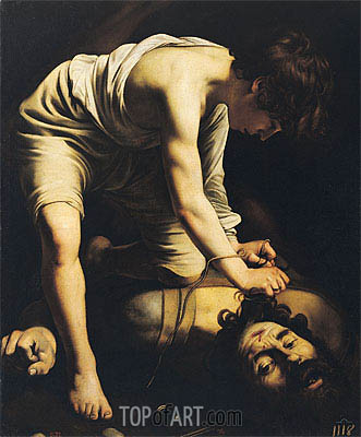 David Victorious over Goliath,  c.1600 | Caravaggio| Painting Reproduction