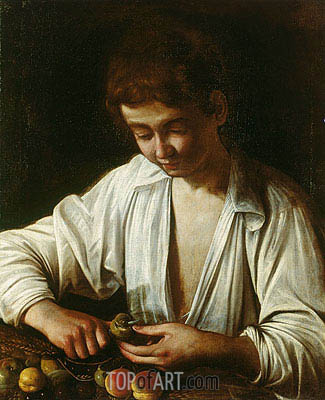 A Boy Peeling Fruit, c.1592/93 | Caravaggio | Painting Reproduction