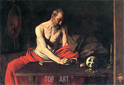 Saint Jerome Writing, c.1607 | Caravaggio | Painting Reproduction