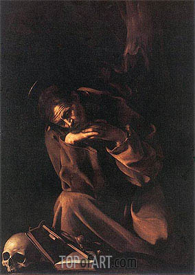 Saint Francis in Prayer, c.1608 | Caravaggio | Painting Reproduction
