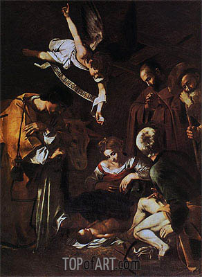 Nativity with Saints Lawrence and Francis, 1609 | Caravaggio| Painting Reproduction