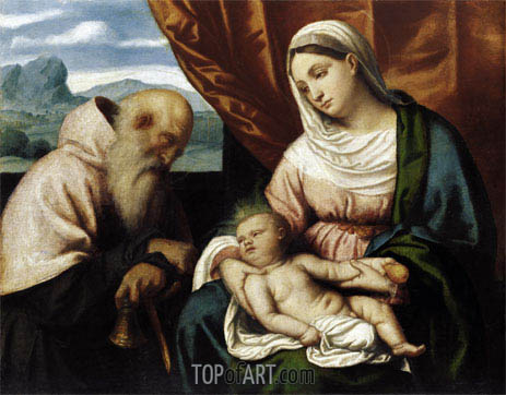 Madonna and Child with St Anthony, c.1540/45 | Moretto da Brescia | Painting Reproduction