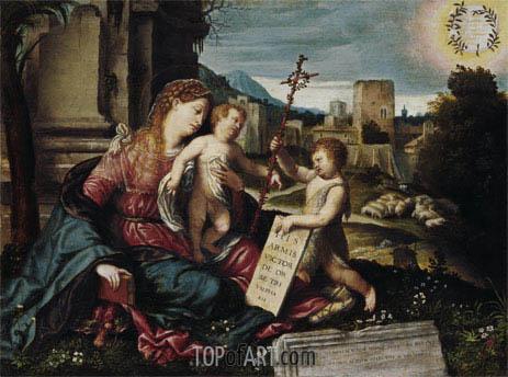 Moretto da Brescia | Madonna with Child and the Young St John, c.1550