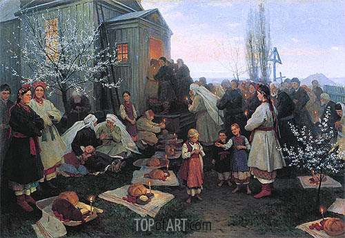 Easter Morning Prayer in Little Russia, 1891 | Mykola Pymonenko| Painting Reproduction