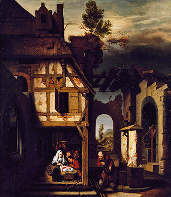 Adoration of the Shepherds, c.1660 | Nicolaes Maes | Gemälde Reproduktion