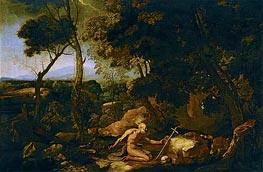 Landscape with Saint Jerome | Nicolas Poussin | Gemälde Reproduktion