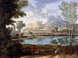 Landscape with a Calm, c.1650/51 by Nicolas Poussin | Painting Reproduction