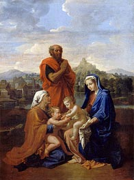 The Holy Family with St. John, St. Elizabeth and St. Joseph Praying, 1656 by Nicolas Poussin | Painting Reproduction