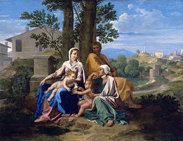 The Holy Family with Saint John and Saint Elizabeth in a Landscape, c.1650 by Nicolas Poussin | Painting Reproduction