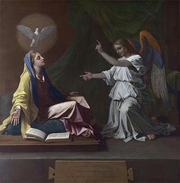 The Annunciation, 1657 by Nicolas Poussin | Painting Reproduction