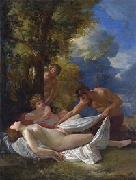 Nymph with Satyrs, c.1627 by Nicolas Poussin | Painting Reproduction