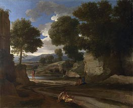 Landscape with Travellers Resting, c.1638/39 by Nicolas Poussin | Painting Reproduction