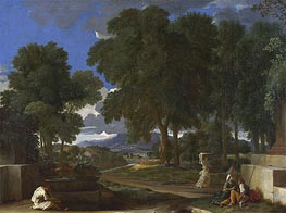 Landscape with a Man washing his Feet at a Fountain, c.1648 by Nicolas Poussin | Painting Reproduction