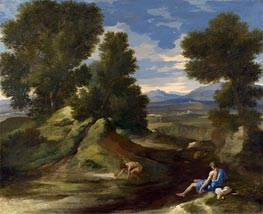 Landscape with a Man Scooping Water from a Stream, c.1637 by Nicolas Poussin | Painting Reproduction