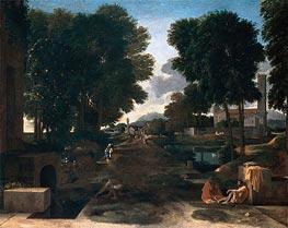 A Roman Road (Landscape with Travelers Resting), 1648 von Nicolas Poussin | Gemälde-Reproduktion