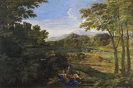 Landscape with Two Nymphs and a Snake | Nicolas Poussin | Gemälde Reproduktion