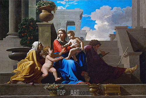 The Holy Family on the Steps, 1648 | Nicolas Poussin| Painting Reproduction