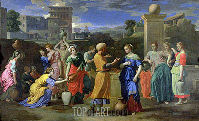 Eliezer and Rebecca at the Well, 1648 | Nicolas Poussin | Gemälde Reproduktion