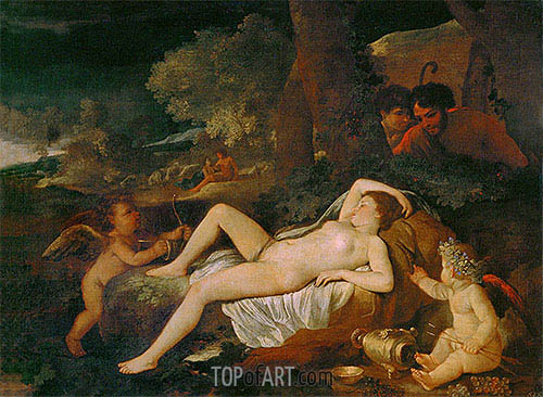 Reclining Venus with Cupid, undated | Nicolas Poussin| Painting Reproduction