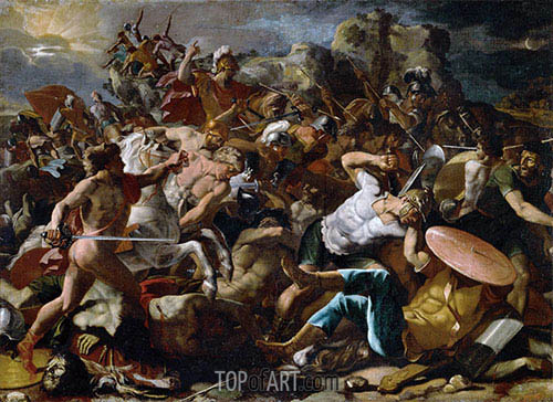 Joshuas Victory over the Amorites, 1624 | Nicolas Poussin| Gemälde Reproduktion