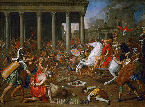The Destruction of the Temples in Jerusalem by Titus, c.1638/39 | Nicolas Poussin | Gemälde Reproduktion
