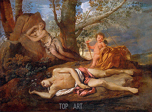 Echo and Narcissus, c.1630 | Nicolas Poussin | Gemälde Reproduktion