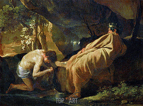 Midas at the Source of the River Pactolus, c.1626/27 | Nicolas Poussin| Painting Reproduction