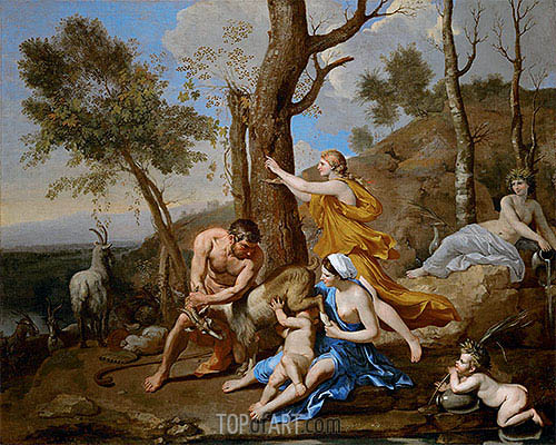 The Nurture of Jupiter, c.1636/37 | Nicolas Poussin| Painting Reproduction
