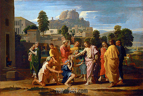 The Blind of Jericho (Christ Healing the Blind), 1650 | Nicolas Poussin | Gemälde Reproduktion