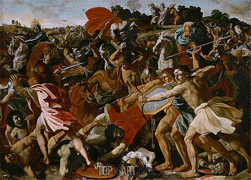 Victory of Joshua over the Amalekites, c.1625/26 | Nicolas Poussin | Painting Reproduction