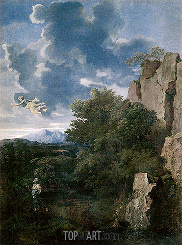 Landscape with Hagar and the Angel, undated | Nicolas Poussin| Painting Reproduction