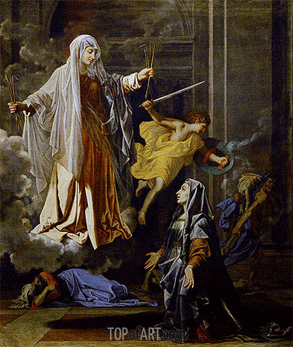 Saint Francoise Romana and the Miracle of the Plague, c.1657 | Nicolas Poussin| Gemälde Reproduktion
