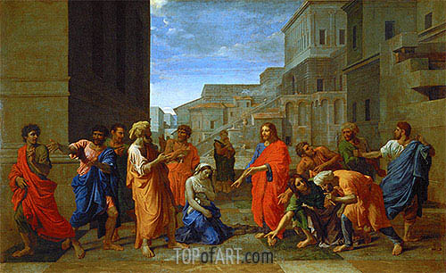 The Woman Taken in Adultery, 1653 | Nicolas Poussin | Painting Reproduction