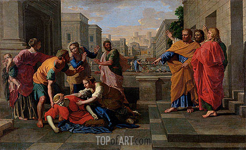 The Death of Sapphira, c.1654/56 | Nicolas Poussin| Painting Reproduction