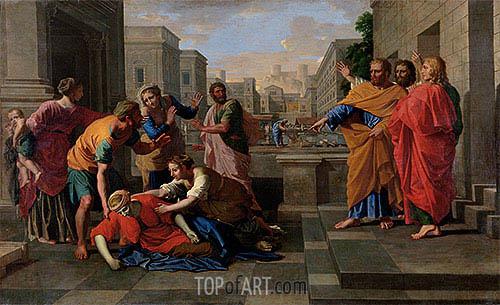The Death of Sapphira, c.1654/56 | Nicolas Poussin | Gemälde Reproduktion