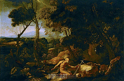 Landscape with Saint Jerome, c.1637 | Nicolas Poussin| Painting Reproduction