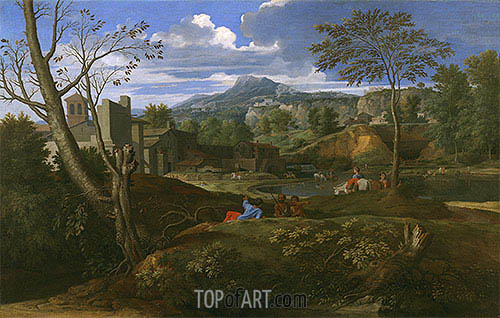 Landscape with Buildings, c.1648/51 | Nicolas Poussin| Painting Reproduction