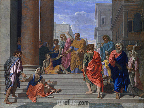 Nicolas Poussin | Saints Peter and John Healing the Lame Man, 1655