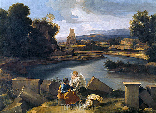 Roman Landscape with Saint Matthew and the Angel, c.1639/40 | Nicolas Poussin| Painting Reproduction